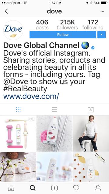Dove Instagram Branded Hashtags