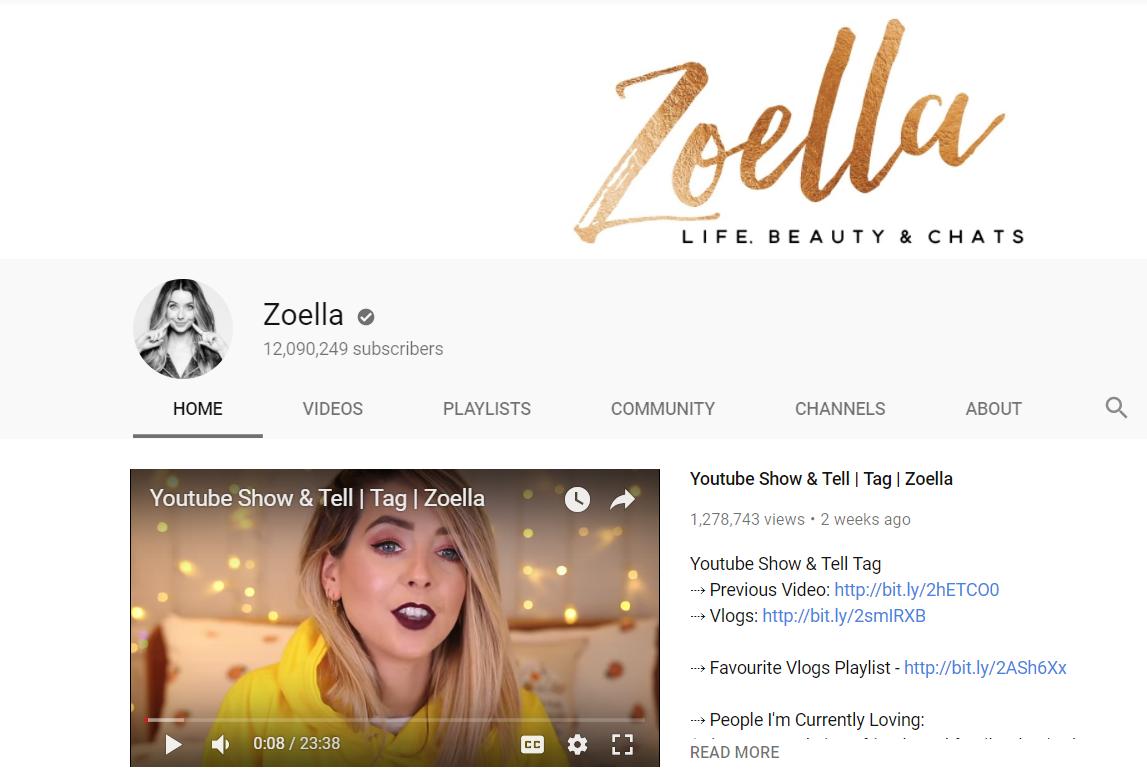 Zoella social media brand influencer